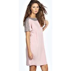 Boohoo Elba Embellished Neckline Shift Dress ($28) ❤ liked on Polyvore featuring dresses, nude, party dresses, bodycon dress, pink cocktail dress, pink shift dress and sequin shift dress