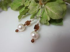 Smoky Topaz Crystal and Creamy Pearl Dangle by IBKcreations, $22.00
