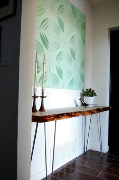 Raw edge wood slab entry way table DIY. From Our Mid Century blog