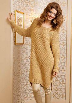 Tunika SK Looks like simple knitting Sweater Knitting Patterns, Easy Knitting, Knitting Designs, Popular Outfits, Knit Sweater Dress, Crochet Fashion, Lana, Knitwear, Knit Crochet