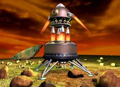 Soviet 1960 Planet Mars  Lander - with Descent and Ascent stages. #red #planet #aeroshell #aerocapture