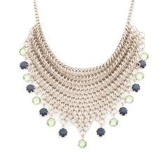There are a million reasons to choose the Anastasia necklace! Chic, modern design combined with quality materials and artisan craftsmanship create a stunning addition to many wardrobe options. The silver mesh necklace features cobalt and peridot drop stones.
