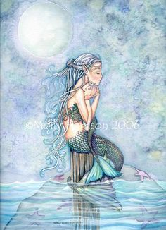 Mermaid Mother and Baby Limited Edition Fine Art Print 11 x 15 'Still Waters' Fantasy Watercolor by Molly Harrison. $35.00, via Etsy.