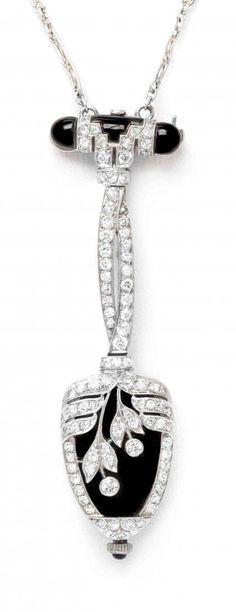 Art Deco platinum diamond onyx watch pendant