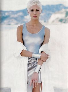 "US Harpers Bazaar February 1994  ""Silver Streak""  Model: Beri Smither  Photographer: Patrick Demarchelier  Hair: Eric Gabriel  Make-up: Gary Berkowitz"