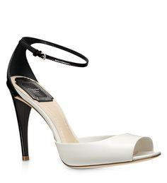 SANDAL - Latte and black glazed leather sandal, 10 cm