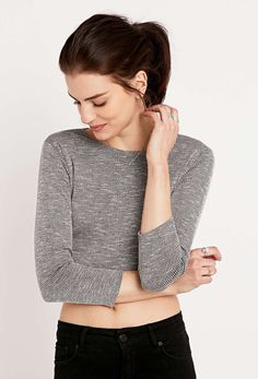 Sparkle & Fade Long Sleeve Ribbed Crop Top