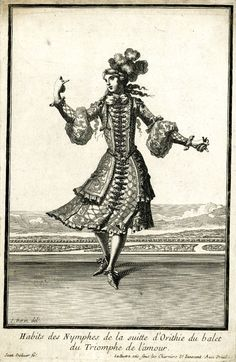 Habits des nymphes de la suite d'Orithie du balet du Triomphe de l'Amour. Costume by Jean Berain père: a young woman wearing a feathered turban and embroidered jacket and skirt, dancing on a stage, 1681. Lully introduced the participation of women as professional dancers in this ballet.