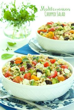 Mediterranean Chopped Salad - Take a taste-trip to the sunny Mediterranean. Lots of healthy chopped veggies, Israeli couscous and a light, lemony dressing.