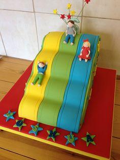 Children's novelty slide cake Fourth Birthday, Birthday Parties, Castle Birthday Cakes, Party Mottos, Bouncy Castle, Soft Play, Custom Cakes, Amazing Cakes, Pie Cake