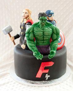 Avengers - Cake by Rene Avenger Cake, Hulk, Fondant, Avengers, Birthday Cake, Desserts, Food, Tailgate Desserts, Deserts