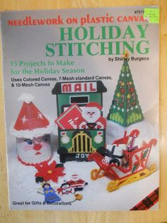 HOLIDAY STITCHING--PLASTIC CANVAS--PATTERN Book-15 Projects-Santa-Ornaments-MORE #PlaidEnterprises