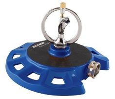 """Dramm 15075 ColorStorm Spinning Sprinkler, Blue by Dramm. $18.74. Works with a water pressure from a low of 20 psi, great for ?well"""" systems. Has a heavy-duty stationary base for stability and a molded hook for easy storage. Works with a water pressure from a low of 20 psi, great for ?well-inch systems. Available in six vibrant colors: red; orange; yellow; green; blue; and berry. Covers an area up to 38-inch in diameter. Creates a very unique and beautiful spray pattern. The Col..."""