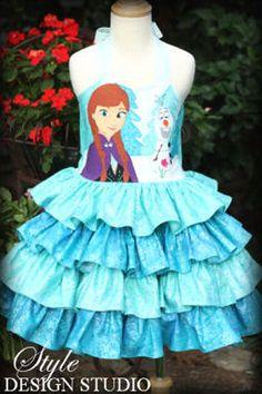 Disney Frozen Ruffle Dress Custom Size 2 3 4 by StyleDesignStudio Frozen Birthday Outfit, Elsa Birthday Party, Frozen Bday Party, Disney Dresses, Disney Outfits, Kids Outfits, Girls Dresses, Frozen Crafts, Frozen Costume