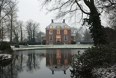 winter shot of Vechtoever, a c1760 country estate in Utrecht, Netherlands currently for sale.