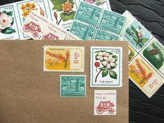 Botanical .. Estate .. UNused Vintage Postage Stamps  .. post 5 letters. $6.75, via Etsy.