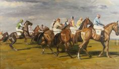School of Alfred James Munnings, oil on canvas painting of Race Horse and Jockeys