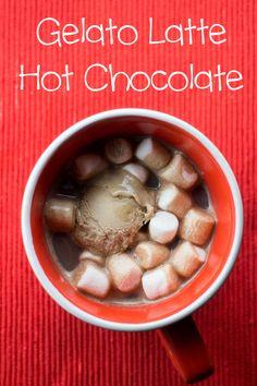 Gelato Latte Hot Chocolate, a 4 ingredient creamy hot chocolate with a taste of latte! #GelatoDREAM #ad