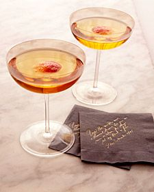 Cocktail: Rye, champagne, bitters, blood orange, and maple syrup; the cocktail napkins were printed with an excerpt from a love letter Napoleon sent to Josephine. Fall Cocktails, Cocktail Drinks, Cocktail Recipes, Whiskey Cocktails, Cocktail Shaker, Classic Cocktails, Drink Recipes, Apple Cocktails, Gold Drinks