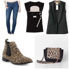 - Colette Skinny by SALSA. - T-shirt Charlie Chaplin inspired by GIRISSIMA. - Black Lapel Sleeveless Pockets Vest by SHEINSIDE. - Booties chelsea leopard print by MERKAL  - Animal print shoulder bag by SUITEBLANCO