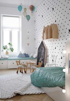 Kids room decorating: modern scandinavian style home design for young famil Scandinavian Kids Rooms, Scandinavian Style Home, Scandinavian Design, Scandinavian Nursery Decor, Baby Bedroom, Kids Bedroom, Bedroom Decor, Bedroom Small, Small Room Design