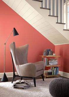 Coral Reef paint color SW 6606 by Sherwin-Williams. View interior and exterior paint colors and color palettes. Get design inspiration for painting projects. Gold Interior, Interior And Exterior, Interior Design, Interior Ideas, Modern Interior, Modern Decor, White Home Decor, Luxury Home Decor, Red Paint Colors