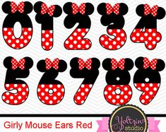 Mickey Mouse Clipart Numbers clip art digital PNG by YoltzinStudio