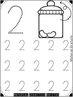 Genial material de trazo de números para preescolar, primer y segundo grado de primaria   Material Educativo Preschool Writing, Numbers Preschool, Preschool Learning, Preschool Activities, Teaching, Printable Preschool Worksheets, Kindergarten Math Worksheets, Math For Kids, Fun Math