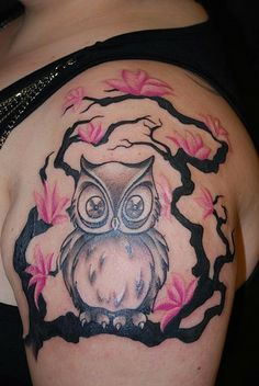 awwww - owl shoulder tattoo with pink flower tree