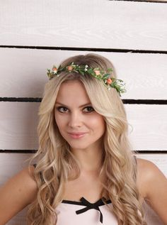 Flower crown Wedding floral Headpiece Rustic Bridal Flower