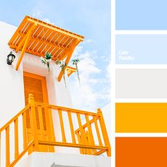 Color Palette Hot composition is so pleasantly cooled by the shades of sky-blue, transparent-blue and white. Due to its anti-stress effect bright orange and sunny yellow fit perfectly into the interior of any room in the house, whether it is the facing of Orange Color Palettes, Blue Colour Palette, Colour Schemes, Color Combos, Beach Color Palettes, Orange Palette, Palette Design, Color Balance, Colour Board