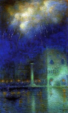 Lucien Lévy -Dhurmer(1865ー1953)「Fireworks in Venice」