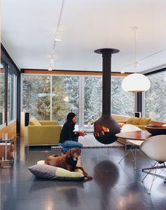Big and black hanging fireplace Fireplace Design Pinterest