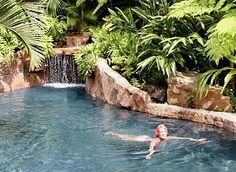 Resort Quality, Lagoon Pool with Waterfall, Grotto, Exotic Surroundings Grotto Pool, Lagoon Pool, Pool Water Features, Aquarium, Cool Pools, Awesome Pools, Pool Waterfall, Dream Pools, Need A Vacation