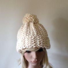 Chunky Knit Hat Pom Pom Women's Beanie Fisherman  The by ellinell