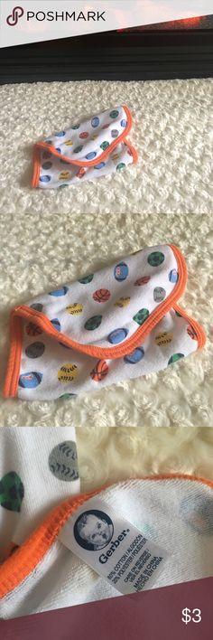 Sports burp rag burp cloth Orange, white and blue burp rag or cloth. Gerber Accessories Bibs