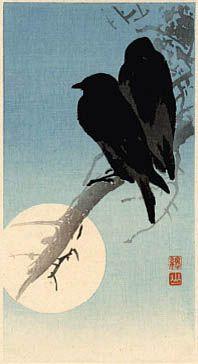 Crows and Full Moon  by Ito Sozan  (published by Watanabe Shozaburo)