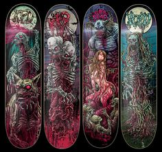 [New] The 10 Best Art Ideas Today (with Pictures) - These artwork on these God Machine decks by KFD is awesome. Skateboard Deck Art, Skateboard Design, Longboard Design, Armadura Darth Vader, Heavy Metal Art, Skate Art, Cool Skateboards, Skate Decks, Metal Artwork