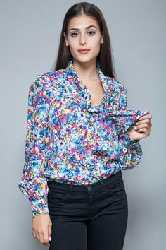 pussy bow blouse floral printed secretary top long sleeves vintage 70s L LARGE