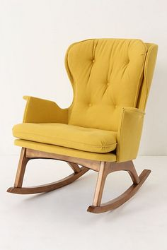 Merveilleux Furniture Mid Century Modern Yellow Rocking Chair Style For Brighten Any  Room Stunning With Fetching Yellow Chairs For Your Living Room Deco.