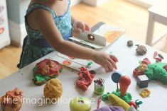 Using coloured play dough, wooden food, a butterfly toy and a copy of The Very Hungry Caterpillar for retelling the story.