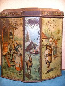 """ANCIENNE BOITE PUBLICITAIRE METAL DECOR """"GIPSY""""HUNTLEY & PALMERS 1893"""