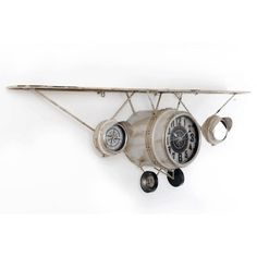 VINTAGE CLOCK PLANE WITH SHELF Aviation Furniture, Industrial Furniture, Industrial Lamps, Indoor Water Features, Fireplace Design, Welding Projects, Decoration, Track Lighting, Home Accessories