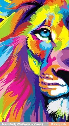 Rainbow lion painting