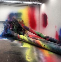 """Katharina Grosse, """"I Think This Is a Pine Tree"""" (2013) at Berlin's Hamburger Banhof Museum for Contemporary Art"""