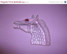 ON SALE Vintage Large Clear Lucite Horse Head Brooch by MICSJWL