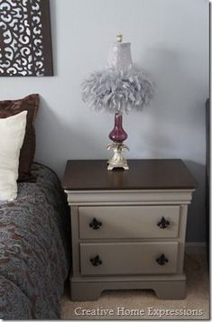 French Linen chalk paint & gel stain on night stand