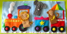Circus Train Quiet Book Page -- love the finger puppets. May have to make this with a jungle theme.