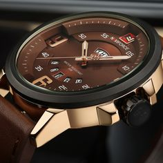 Cheap watch tv mobile free, Buy Quality watch box for large watches directly from China watch special Suppliers: Mens Watches Top Brand Luxury NAVIFORCE Sports Watch Men Military Leather Quartz-watch Waterproof Male Clock Relogio Masculino Military Grade Watches, Army Watches, Seiko Watches, Mens Sport Watches, Mens Watches Leather, Leather Men, Brown Leather, Casual Watches, Cool Watches