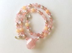 Rose Quartz Pendant Necklace with Peach jade and Natural Pink